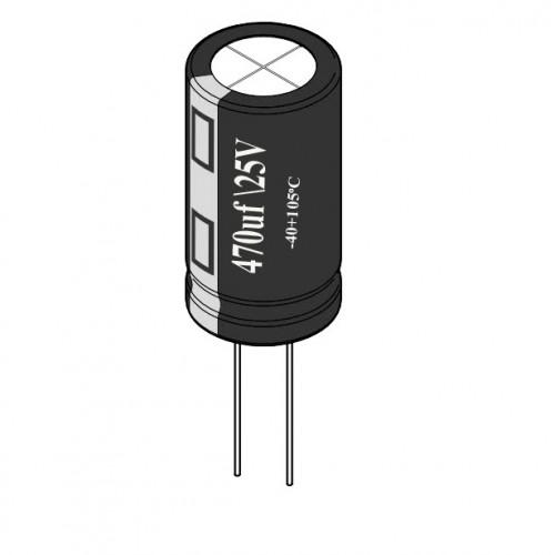 470uF / 25V Electrolytic Capacitor